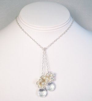Dilynn Crystal Teardrop Necklace with pearl Clusters - Sterling Silver