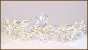 Dilynn Bridal Tiara - Teardrop and Pearl Clusters - Wedding Tiara - Sterling Silver