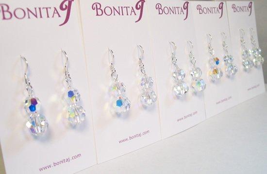 Bianca Crystal Drop Bridal Earrings - Sterling Silver - Wedding Earrings