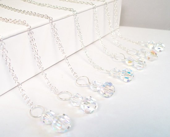 Crystal Pendant Necklaces - Bridesmaid Jewelry - Crystal AB