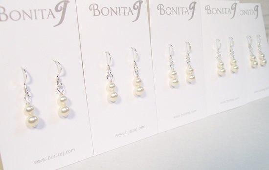 Small Ivory Pearl Drop Earrings - Wedding Bridal Earrings - Cream - Sterling Silver