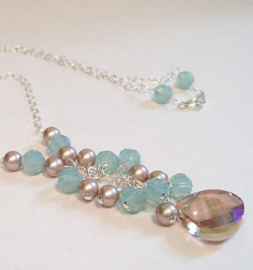Bayberry Necklace - Purples, Blues and Almond Brown - Sterling Silver - Bridesmaid Necklace