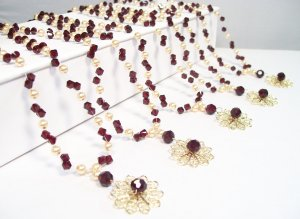 Autumn Filigree Illusion Necklace - Garnet and Gold - Bridesmaid Necklace