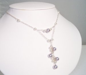Lavender and White Pendant Necklace - Cluster - Sterling Silver - Wedding Necklace