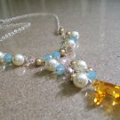 Coral Cluster Beach Necklace - Sterling Silver - Topaz - Blue - Ivory - Bright Gold