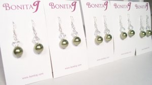 Green Bridesmaid Earrings - Pearls and Crystals - Sterling Silver