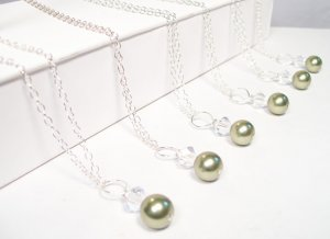 Green Bridesmaid Pendant Necklace - Sterling Silver - Light Green Pearls and Clear Crystals