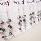 Purple and Black Cluster Earrings - Bridesmaids Chandelier Earrings Lt Amethyst