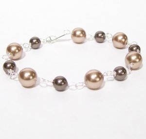 Brown and Bronze Bridesmaid Bracelet - Every day wear - sterling silver