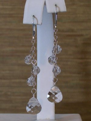 Clear Teardrop Cluster Earrings - Wedding Earrings - Sterling Silver