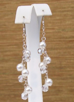 White Pearls & Clear Crystal Cluster Wedding Earrings