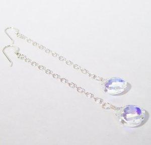 Long Teardrop Earrings - Crystal AB - Sterling Silver