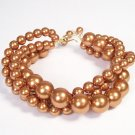 Copper Pearl Twisted Bracelet - Bridesmaid Jewelry - Chunky Accessories