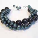 Deep Teal & Black Twisted Pearl Bracelet - Bridesmaid jewelry
