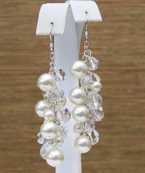 Cream Pearl & Clear Crystal Cluster Earrings - Wedding Earrings - Chandelier