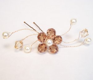 Light Smoked Topaz with Golden Shadow Crystals and Ivory Pearl Flower Swag Hairpin