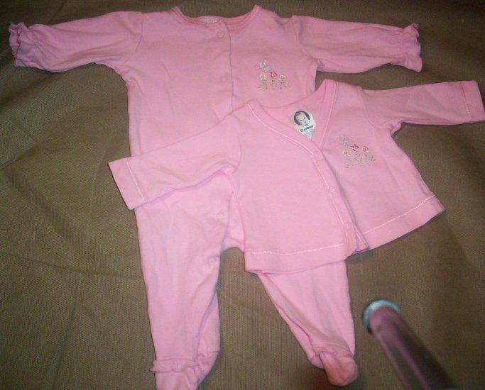 2 Piece Girls Preemie Set in Pink