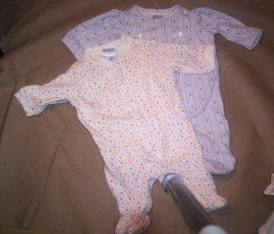 2 Girls Footed Preemie Sleeper's