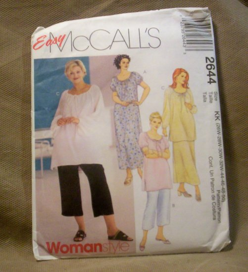 McCall's Easy Women's Dress, Top, Skirt and Capri's Pattern #2644, Size 26W-50
