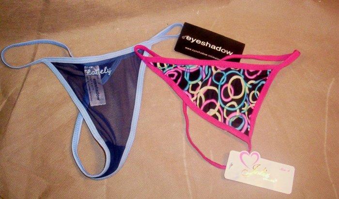 """2 Pair Ladies """"G"""" string Bikini Panties, Size S, NWT, Item # 05-001001060018"""