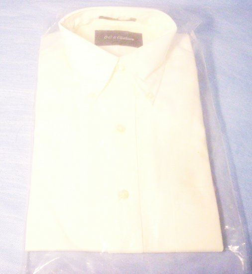 Men's LS Size 15.5 White Button Front Shirt, Item # 10-001016060008
