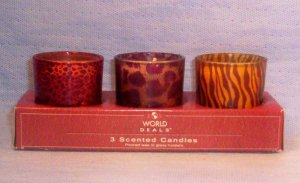 Set of 3 Animal Print Candles, Item # 04-001021060023