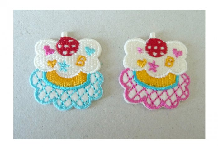 2pcs..35mm Embroidered Fruit Cake Felt Patches in Blue and Pink