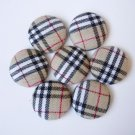 8 of 3/4 inch(21mm)Plaid Fabric Covered Button for scrapbooking, clothing,accessories, and jewelry