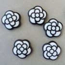 20mm White Flower with Black Outline (Camelia) for jewerly,accessories, scrapbooking