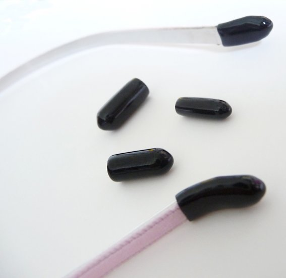U-PICK..24 pcs..Comfortable Black End Tip for 3mm, 5mm and 7mm Thin Metal Headband