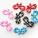 20pcs.. 20mmX11mm Gingham Check Ribbon Bow Padded Applique in Pink, Red, Black and Blue