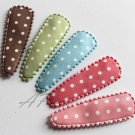 20pcs..50mm Polka Dots Design Cotton Snap Hair Clip Covers in Peach, Brown, Beige, Green, Purple