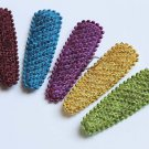 20 pcs..55mm Luxury Knit Hair Snap Clip Covers Covers in Wine, Blue, Purple, Yellow, Green