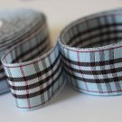 5 Yards of 1 inch (25mm) Blue and Black Plaid Check Ribbon