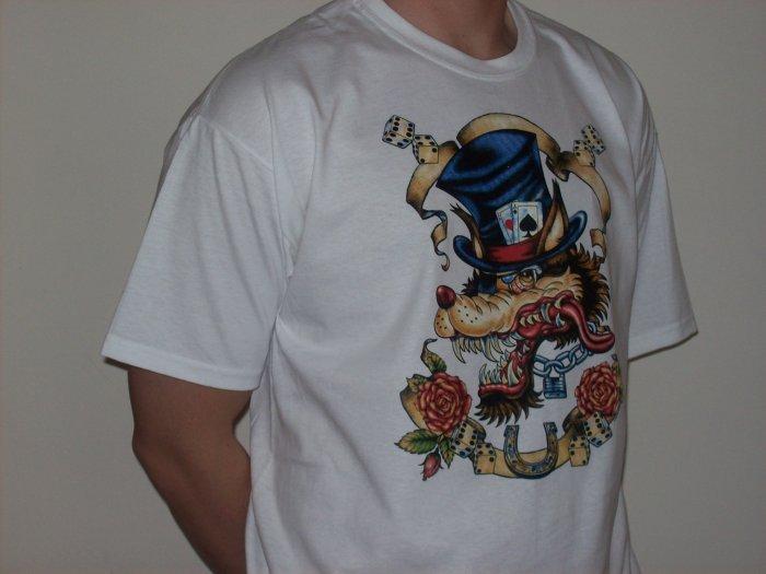 """tattoo inspired tshirt """"gambling wolf"""""""