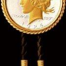US Peace Liberty Silver Dollar  Coin  Bezelled Bolo Tie