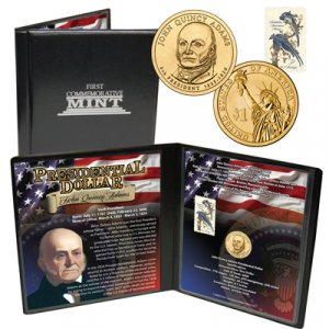 24K Gold Plated John Quincy Adams Presidential Coin/Sta
