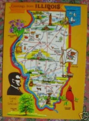 "Brand New ""ILLINOIS"" map postcard - US"