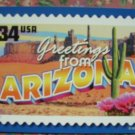 "Brand New ""GREETINGS FROM ARIZONA"" stamped card US"