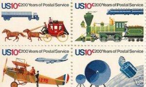 US #1572-75  200 YEARS OF POSTAL SERVICE BLOCK MINT