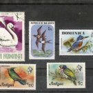 Lot of 5  Bird on  Stamps