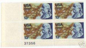 US Stamp Block BENJAMIN FRANKLIN BICENTENNIAL  .13 MNH