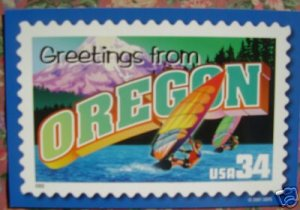 """Brand New """"GREETINGS FROM OREGON"""" stamped card US"""