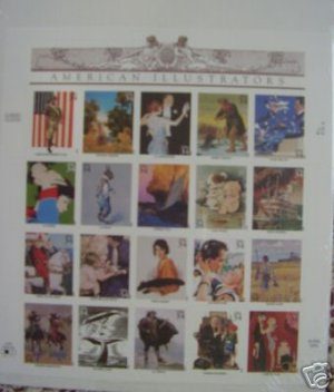 #3502 Full Mint Sheet AMERICAN ILLUSTRATORS - 2001