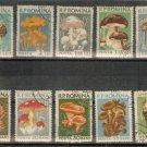 ROMANIA -Lot of Single  Mushroom Set stamps MNH cancel