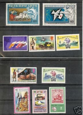 Lot of 10 Universal Postal Union on Stamps