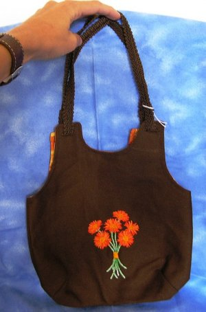 Fall Flowers Embroidered Purse