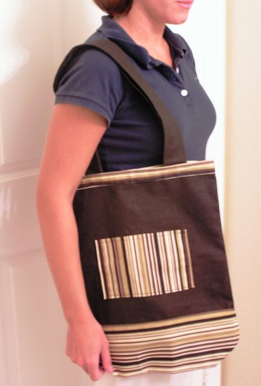 Brown Striped Tote Bag