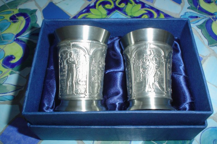 TUMASEK PEWTER SET OF DECORATIVE SHOT GLASSES from SINGAPORE - NEW IN GIFT BOX!