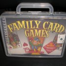 FAMILY CARD GAMES (13) with 2 DECKS OF CARDS and CRIBBAGE BOARD/PEGS in CARRY CASE!